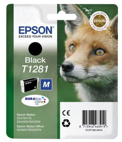 Epson Singlepack Black T1281 DURABrite Ultra Ink - Cartucho de tinta para impresoras (Original, Tinta a base de pigmentos, Negro, 1 pieza(s), Epson Stylus S22/SX125/SX130/SX230/SX235W/SX420W/SX425W/SX430W/SX435W/SX440W/SX445W, Stylus Office..., Inyección de tinta)