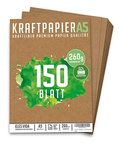 150 Blatt Kraftpapier A5 Set - 260 g - 14,8 x 21 cm - DIN Format - Bastelpapier & Naturkarton Pappe Blätter aus Kraftkarton zum Drucken, Kartonpapier Basteln für Vintage Hochzeit Geschenke Etiketten