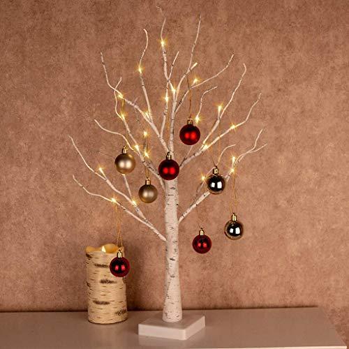 45cm LED Birke Baum 24 LEDs Lichterbaum Stimmungslicht Warmweiß Weihnachtsbeleuchtung Batteriebetriebene für Weihnachten, Jahrestag, Ostern, Hochzeit, Partei, Innen Dekoration