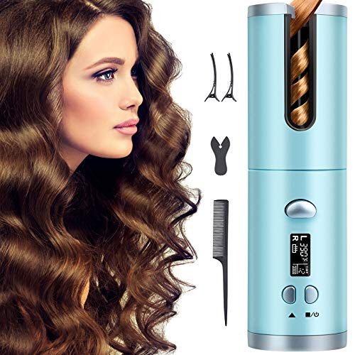 Hair Curler,Cordless auto hair curler,USB Rechargeable Auto Curler with LCD...