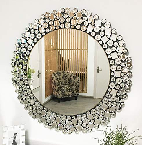 TopB Spiegel-Wandspiegel, unregelmäßig, rund, Wandmontage, für Schlafzimmer, 80 x 80 cm