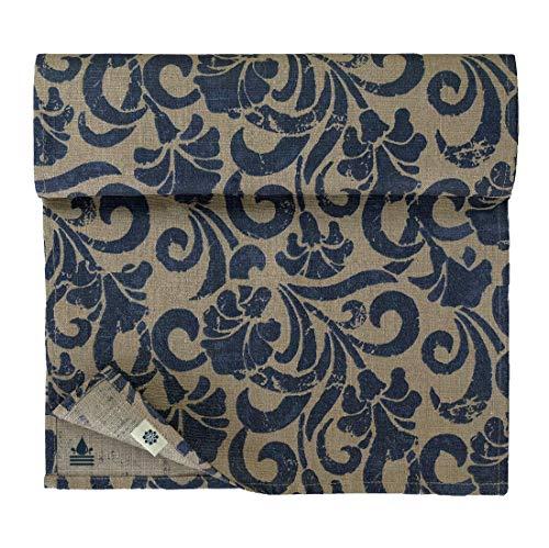 Linen & Cotton Camino de Mesa Diseño Floral Florian - 100% Lino, Azul Beige (34 x 140 cm) Corredor de Mesa Impermeable Antimanchas Antideslizante para Casa Mesa de Centro Tocador Jardín Restaurante