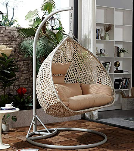 Chair Hanging Rattan Swing Patio Garden Weave Egg with Cushion in or Outdoor (Double, Grey with Grey Cushion)