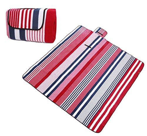 Tapis de pique-nique en extérieur – Ouvrant épais coussin Camping Plage Imperméable – Rouge/Bleu