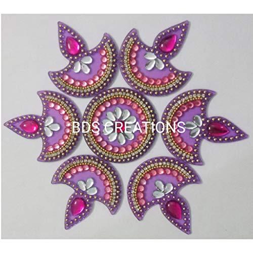 BDS CREATIONS Multi Small Diya Handcrafted Decorative Rangoli for Floor Decoration (7 Piece Set)