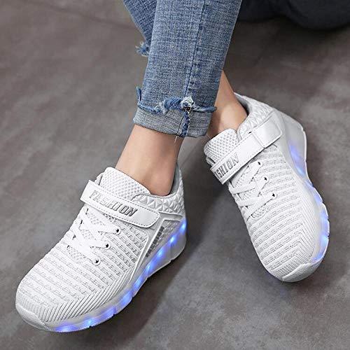 dhh Unisex Niños LED Zapatillas De Patìn Roller Zapatillas De Skateboard Ajustables Ruedas Zapatos De Roller Retráctiles Zapatos De Roller Chicos Chicas,WhiteWheel-31
