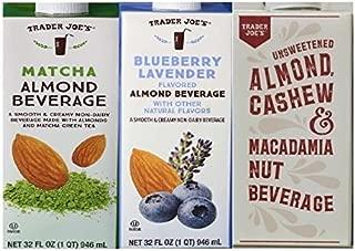 Trader Joe's Almond Milk Beverage Trio: Matcha Almond Beverage, Blueberry Lavender Flavored Almond Beverage, Unsweetened Almond Cashew and Macadamia Nut Beverage