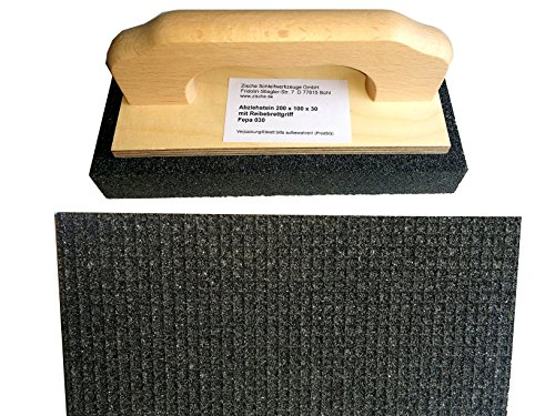 Zische Rutscher Schleifstein mit Griff, 200 x 100 x 30 mm, Siliciumcarbid, Körnung FEPA 30, für Beton und Estrich, Schruppstein