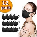 12 Stück Mundschutz Maske, Staub Gesichtsmaske, Unisex Wiederverwendbar Mundschutz Maske Fashion Unisex Face Masks, Wiederverwendbare und waschbare Maske zum Laufen