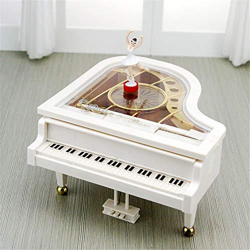 FairytaleMM Fashion Life muziekhorloges uurwerk type Rotary klassieke ballerina meisjes op de piano muziekdoos geschenken (wit)