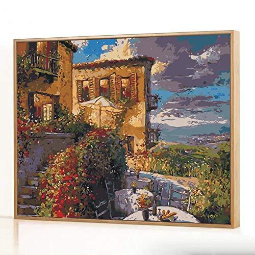DIY Digitale Olieverfschilderij Kleurplaten Handgeschilderde Cartoon Animatie Decoratieve Schilderij Ladder Ht193 Omlijst 40x50cm