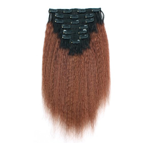 AmazingBeauty 8A Double Weft Texlaxed Kinky Straight Ombre Clip in Hair Extensions - Remy Human Hair, 17 Pieces 115 Grams, Natural Black Fading into Auburn, 12 Inch