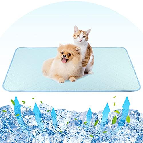 Pawaboo 70 * 120 CM Toallitas de Entrenamiento para Mascotas, Pañuelos de Perro Lavable Ultraabsorbente Reutilizables Empapadores para Mascotas Antideslizante Impermeable - Azul