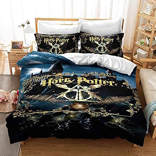 QWAS Ropa de cama Harry Potter 3D, 100% microfibra, dibujos animados (L3,200 x 200 cm + 50 x 75 cm x2)