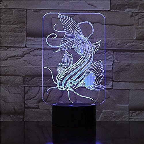 7 colores cambiantes de peces 3D led lámpara de carga USB de pesca 3D luz de noche lámpara de escritorio botón táctil lámparas de mesa regalos para niños 3 control remoto regalo