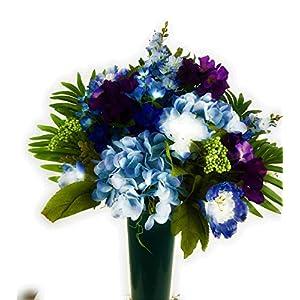 Cemetery Gravesite Graveside Memorial Cone Flowers Purple Blue