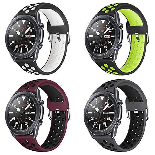 YPSNH Kompatibel für Samsung Galaxy Watch 3 45mm Armband Weiches Silikon Gear S3 Uhrenarmband Sport Verstellbarer Riemen Zweifarbig 22mm Ersatzarmband für Samsung Galaxy Watch 46mm