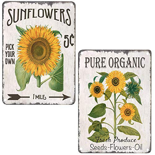 Organic Sunflower Retro Vintage Tin Bar Sign Country Home Decor for Home Living Room Bedroom Decoration 2 Piece 8X12Inch