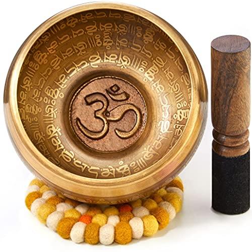 XXL Klangschale 800g - 16cm. Große Tibetische Klangschalen Set mit Klöppel und Klangschalenkissen in Loktapapier Geschenk-Box. Singing Bowl aus Tibet