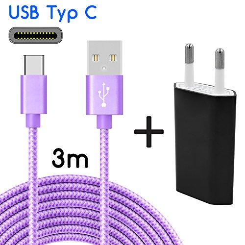 Coverlounge Ladegerät mit USB-C Kabel 3m / 3 Meter Nylon mit Netzteil/Netzstecker USB Typ-C Ladekabel kompatibel mit Type-C Geräte, Samsung Galaxy, HTC, OnePlus, Huawei, Sony, UVM in Lila