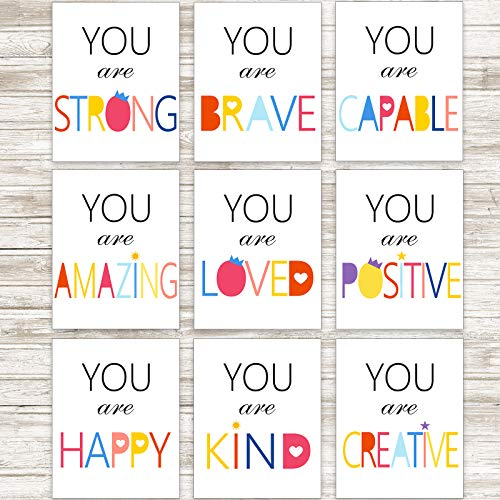 Outus 9 Pieces Watercolor Inspirational Quote Art Painting Motivational Posters Minimalist Typography Wall Art Poster for Nursery or Kids Room Decoration, Unframed