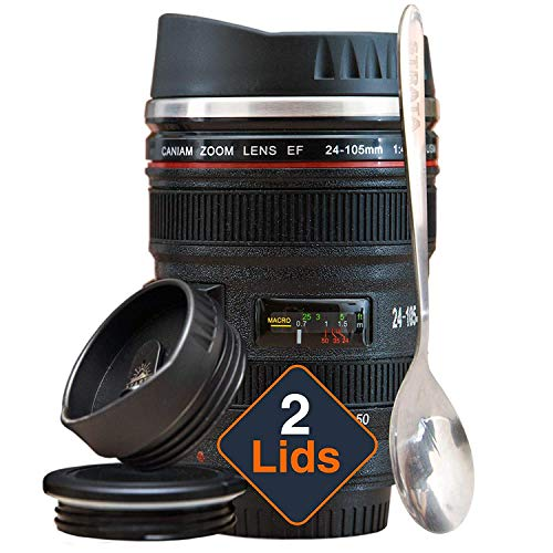 STRATA CUPS Taza Térmica de Café con forma de Objetivo de Cámara Fotográfica - 2 TAPAS + CUCHARA DE REGALO! Termo de Acero Inoxidable 400 ml con tapas Sellada y Retráctil, Regalo ideal para Fotógrafos
