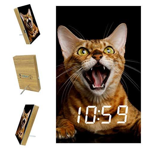 Digitaler Wecker für Schlafzimmer Kitchen Office 3 Weckereinstellungen Radio Wood Desk Clocks - Aggressive Bengal Cat
