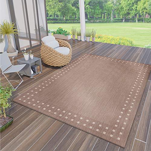 VIMODA Robuster Flachgewebe Teppich In- und Outdoor Tauglich, Farbe:Beige, Maße:80 x 150 cm