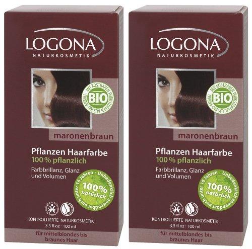 Ideenmanufaktur Logona Henna Haarfarbe Pflanzenhaarfarbe maronenbraun im Doppelpack 2 x 100 g