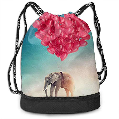 PmseK Turnbeutel,Kordelzug Tasche Elephant Red Heart Print Drawstring Backpack Bag Outdoor Bundle Backpack Gym Sackpack Travel Sport Yoga Gym Cinch Bag Laptop Sack Bag Beach Rucksack for Women & Men