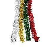 BBTO 4 Piezas de Guirnalda de Oropel Brillante de Navidad para Decoración de Fiesta, 4 Colores, 8...