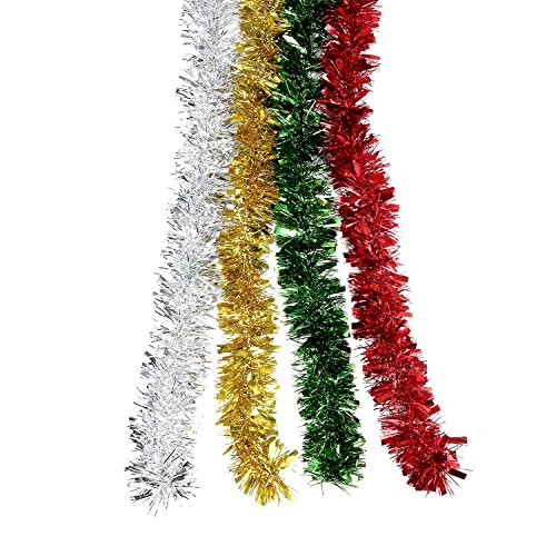 BBTO 4 Pieces Christmas Tinsel Shiny Tinsel Garland for...