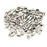 JETEHO 100 Pcs Stainless Steel Fold Over Cord Ends Terminators Crimp End Tips Jewelry Maki...