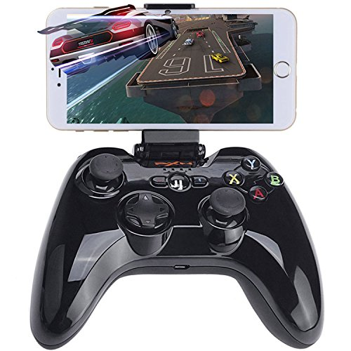 Wireless Gamepad Controller for iOS MFi Gaming Joystick with Clamp Holder Compatible with Apple iPhone Xs, XR X, 8 Plus, 8, 7 Plus, 7 6S 6 5S 5, iPad, iPad Pro Air Mini, Apple TV