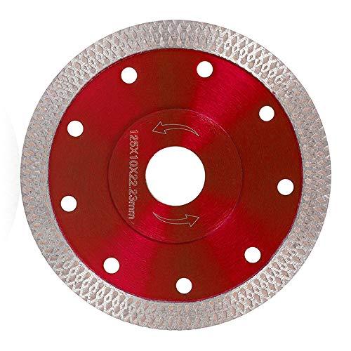 Disco de Diamante Hoja de Diamante 115 125 Profesional Corte en Seco Porcelánico Granito Cerámica Cuarcita Mármol (125mm, Rojo)