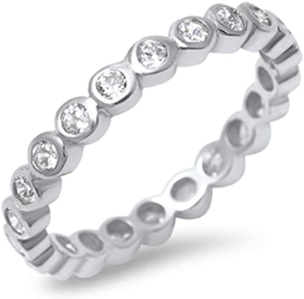 Precious Gem Jewellers Sterling Silver Zirconia 4 years warranty Trust Bezel Eter Cubic