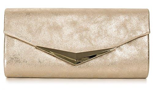VINCENT PEREZ Damen Clutch Abendtasche Unterarmtaschen Umhängetasche aus Kunstleder Vintage Glitzer-Optik mit abnehmbarer Kette (120 cm) 25 x 12,5 x 4 cm (B x H x T), Farbe:Gold