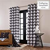 Catherine Lansfield Zig Zag - Cortinas con Ojales, Color Gris, Gris Oscuro, Curtains - 66x54In