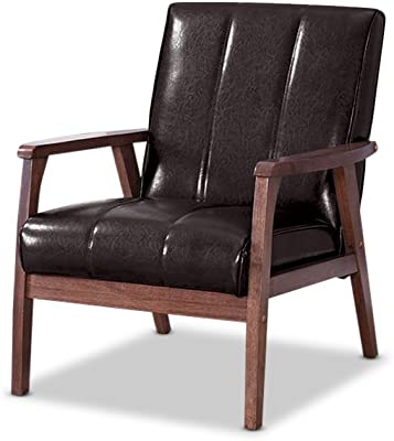 Baxton Furniture Studios Nikko Mid-Century Modern Scandinavian Style Faux Leather Wooden Lounge Chair,
