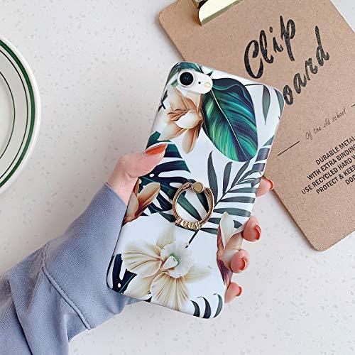 Cover iPhone 7,Cover iPhone 8 Modello dipinto fiori foglie banana & Supporto cavalletto anello Ultra Sottile Morbido Silicone Custodie Protettivo Crystal TPU Gel Clear Case Cover,Fiore bianco