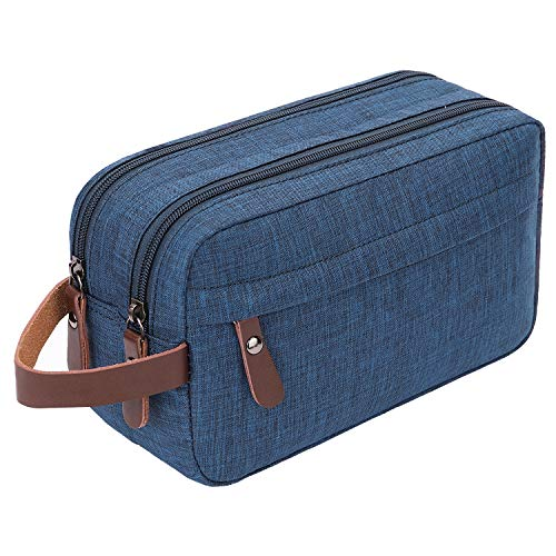 Mens Toiletry Bag Dopp Kit Travel Bathroom Bag Waterproof Shaving Shower Cosmetic Organizer (Blue)