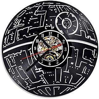 FANCYLIFE Relojes de Pared con Registro LED Huecos Decorativos 3D Star Wars CD clásico Reloj de Vinilo con Colgante Reloj para el hogar Reloj Creativo Antiguo