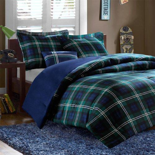 MIZONE Cozy Comforter Set Cabin Lifestyle Plaid Design All Season Bedding Matching Shams, Decorative Pillow, Full/Queen, Brody Blue