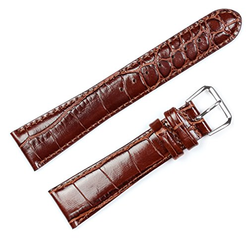 Replacement Leather Watch Band - Crocodile Grain Havana 12mm