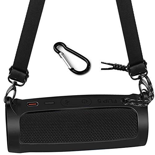 Silicone Case Cover for JBL Flip 5 - Waterproof Portable Bluetooth Speaker, Carrying Travel Rubber Pouch Sleeve Holder with Extra Carabiner and Shoulder Strap (Not Fits Flip 4)