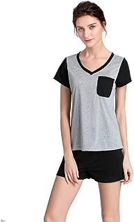 YIJIU Womens V-Neck Sleepwear Short Sleeves Top with Shorts Pajama Set Nightwear