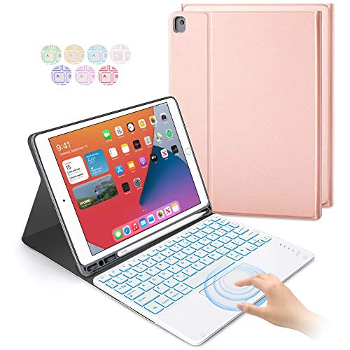 Keyboard Case with Touchpad for iPad 10.2 Inch 2020 2019 (8th / 7th Gen), 7 Colors Backlit Magnetically Bluetooth Keyboard with Pencil Holder for iPad 10.2'/ iPad Air 3/ iPad Pro 10.5 - Rose Gold