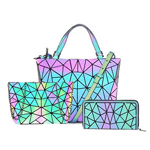 Hot One Handtasche Damen Geometrische Reflektierende Umhängetasche Geldbeutel Damen Taschen Set Rucksack (Leuchtend Handtasche M+Messenger-Bags+Reißverschluss)