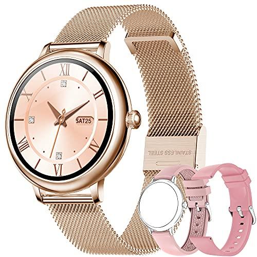 Smartwatch Mujer, Reloj Inteligente Impermeable 67, Monitor de Sueño y Caloría Pulsómetro, 7 Modos de Deportes, Notificaciones Inteligentes, Caloría, Reloj Deportivo Mujer para Android iOS (Oro)