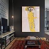 Friso de Beethoven Pinturas de Gustav Klimt Reproducciones Arte de la pared Lienzos Cuadros Carteles Impresiones Decoración para sala de estar 20x35cm (9x14in) Marco interno